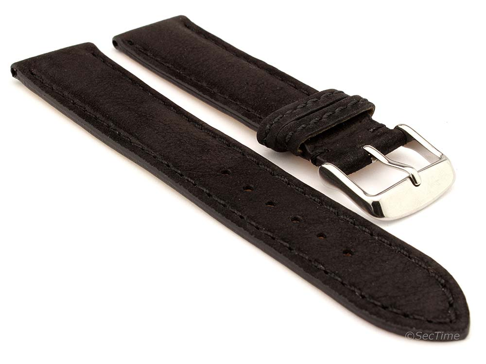 Genuine Nubuck Leather Watch Strap Band Evosa Black 22mm