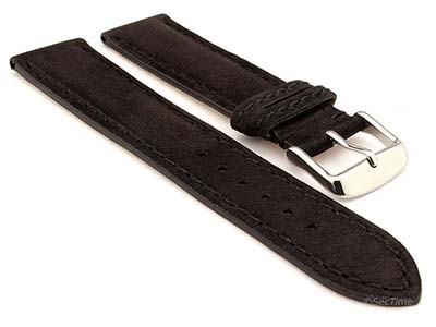 Genuine Nubuck Leather Watch Strap Band Evosa Black 20mm