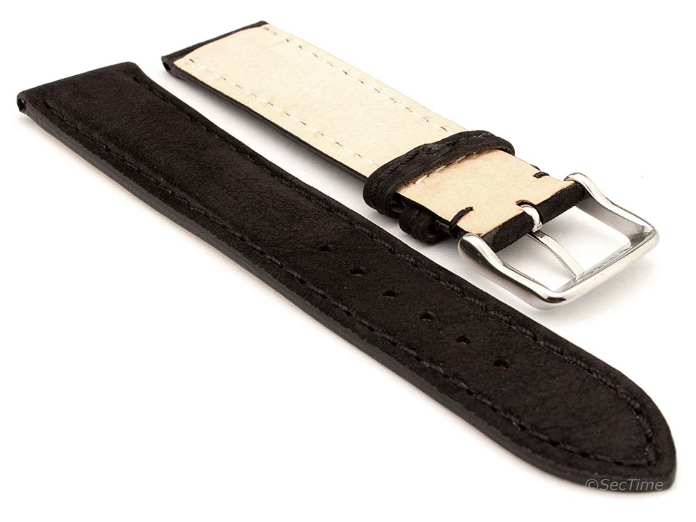 Genuine Nubuck Leather Watch Strap Band Evosa Black 02