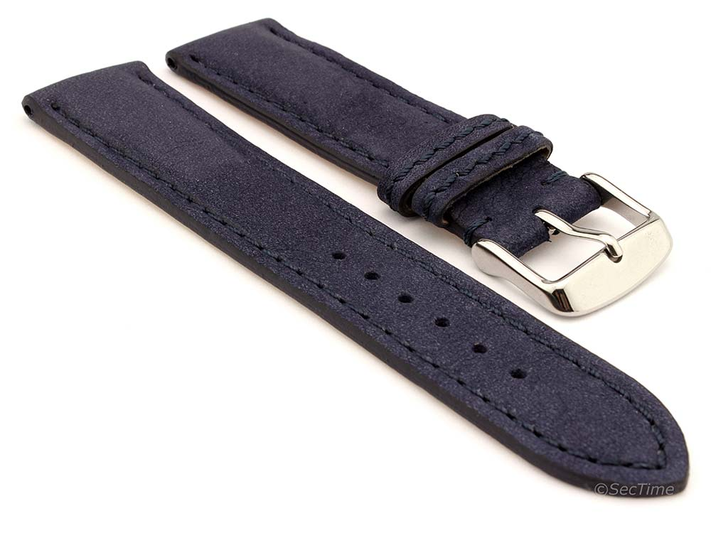Genuine Nubuck Leather Watch Strap Band Evosa Navy Blue 01