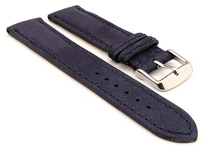 Genuine Nubuck Leather Watch Strap Band Evosa Navy Blue 20mm