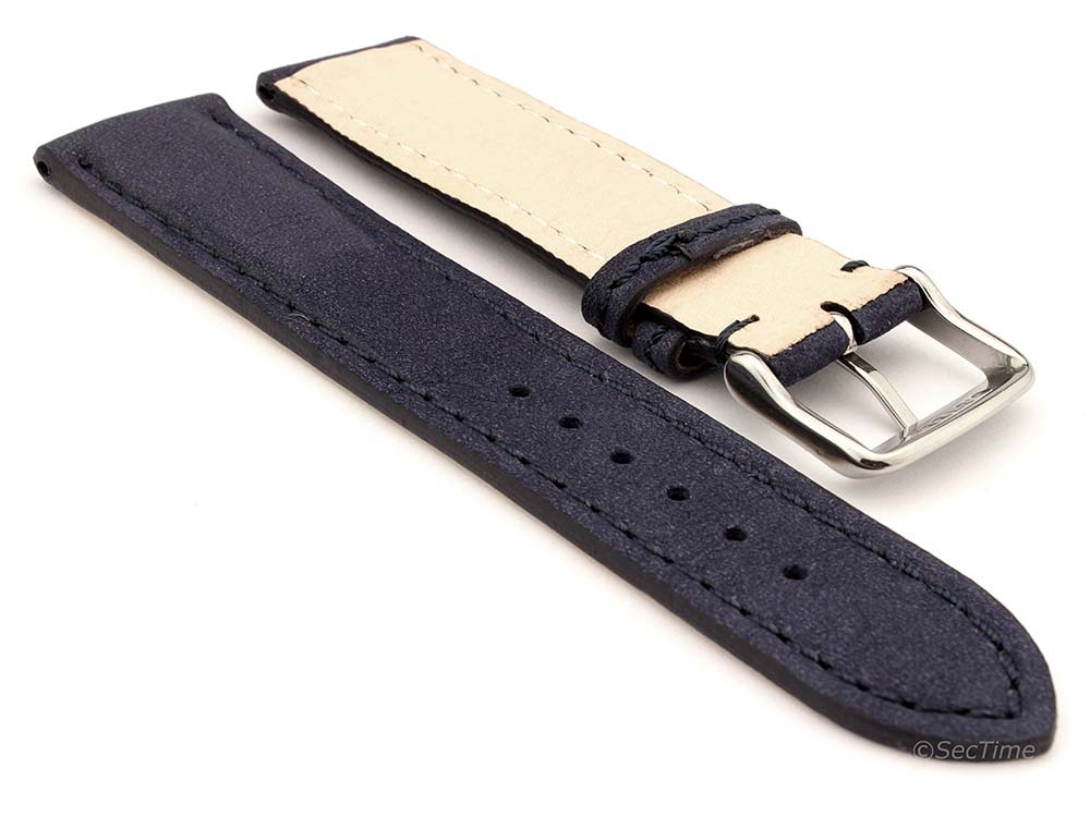 Genuine Nubuck Leather Watch Strap Band Evosa Navy Blue 02