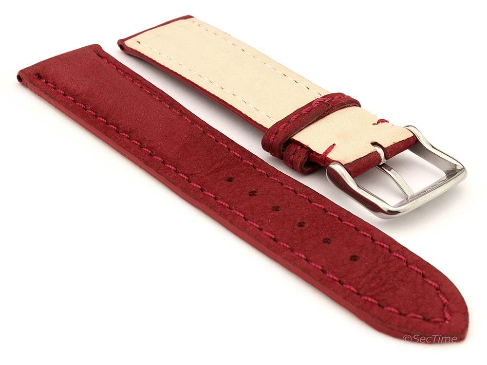 Genuine Nubuck Leather Watch Strap Band Evosa Maroon 02