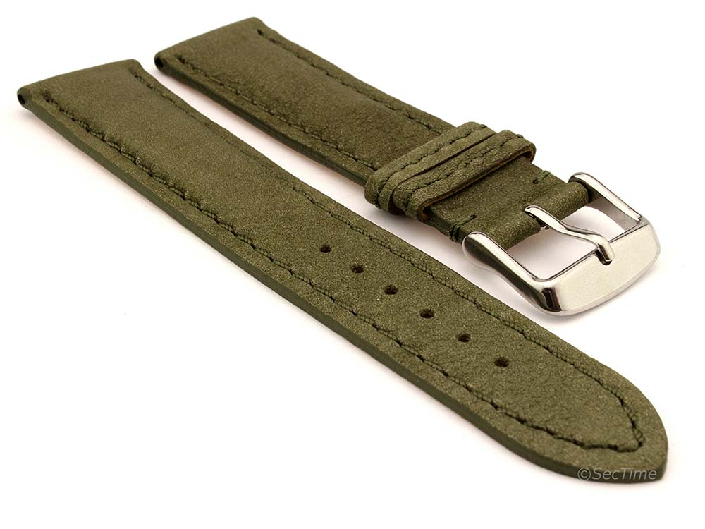 Genuine Nubuck Leather Watch Strap Band Evosa Olive Green 01