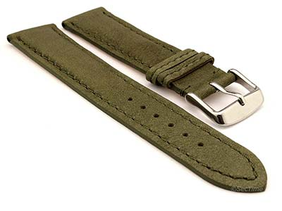 Genuine Nubuck Leather Watch Strap Band Evosa Olive Green 20mm