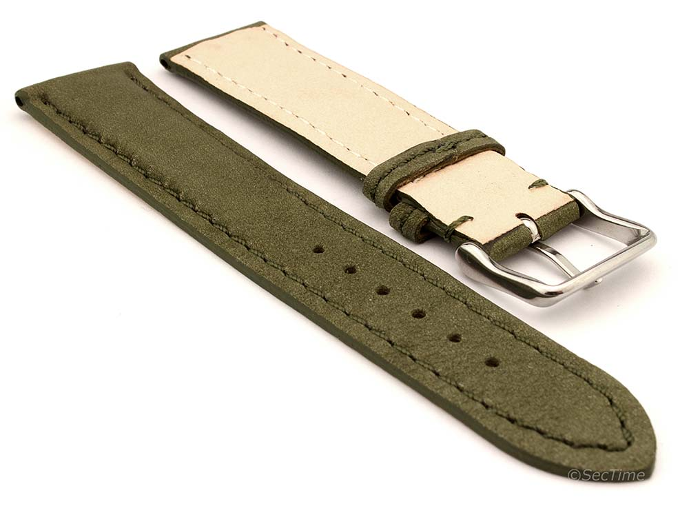Genuine Nubuck Leather Watch Strap Band Evosa Olive Green 02