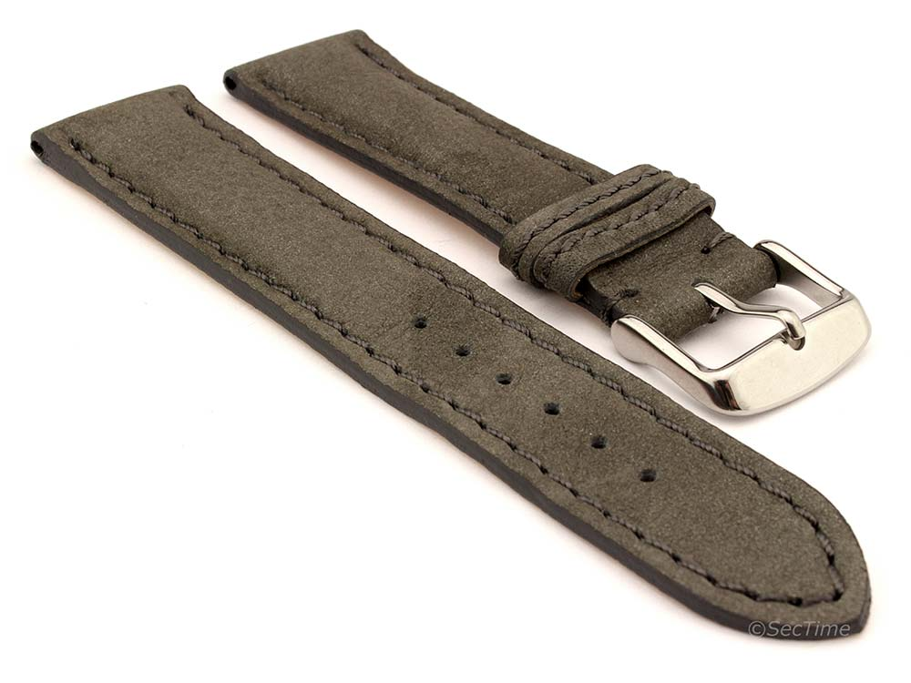 Genuine Nubuck Leather Watch Strap Band Evosa Grey 22mm