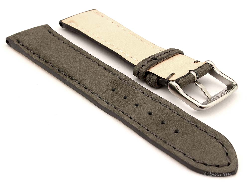 Genuine Nubuck Leather Watch Strap Band Evosa Grey 02