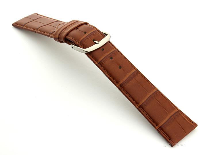 Extra Long Genuine Leather Watch Strap Croco Louisiana Brown 02