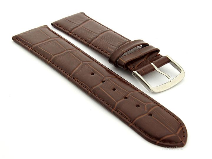 Extra Long Genuine Leather Watch Strap Croco Louisiana Dark Brown 01