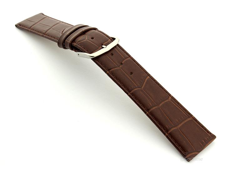 Extra Long Genuine Leather Watch Strap Croco Louisiana Dark Brown 02