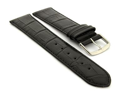 Extra Long Genuine Leather Watch Strap Croco Louisiana Black 16mm