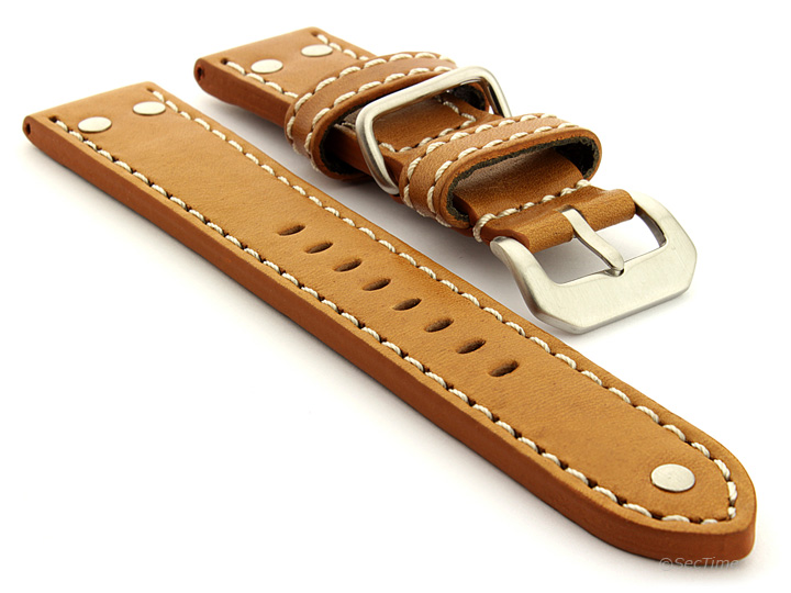 Riveted Leather Watch Strap Brown (Tan) with White Stitching Fighter 01