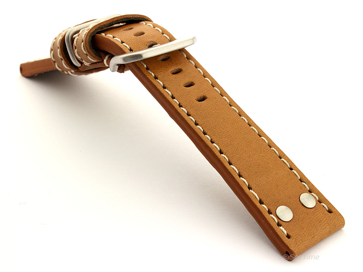 Riveted Leather Watch Strap Brown (Tan) with White Stitching Fighter 02