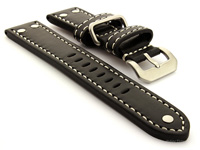 Riveted Leather Watch Strap Black with White Stitching Fighter 01