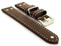 Riveted Leather Watch Strap Dark Brown with White Stitching Fighter 01