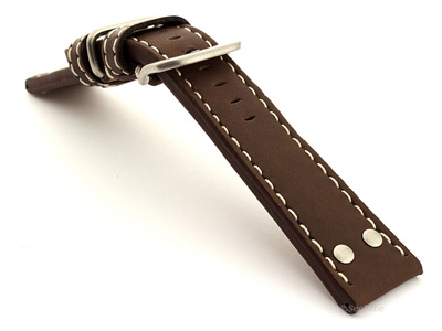 Riveted Leather Watch Strap FIGHTER Dark Brown / White 22mm