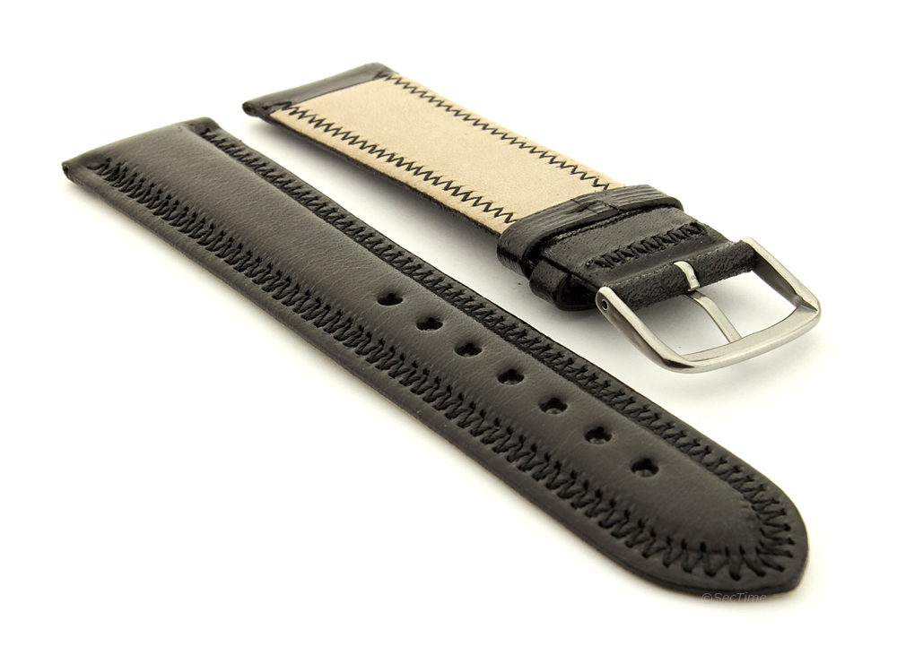 Genuine Leather Watch Strap Florence Black 02