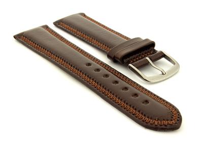 Genuine Leather Watch Strap Florence Dark Brown 01