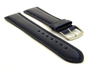 Genuine Leather Watch Strap Florence Navy Blue 24mm