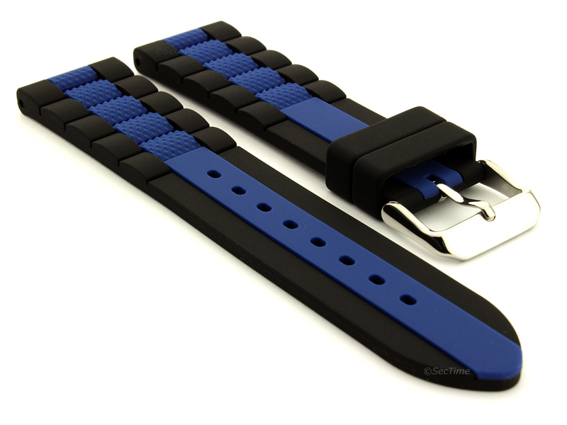 Two-colour Silicone Rubber Waterproof Watch Strap Forte Black/Blue 02