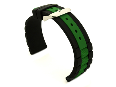Two-colour Silicone Waterproof Watch Strap FORTE Black/Green 20mm