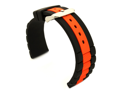 Two-colour Silicone Waterproof Watch Strap FORTE Black/Orange 20mm