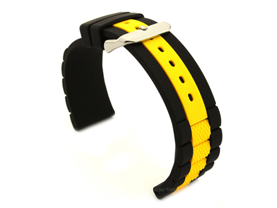 Two-colour Silicone Waterproof Watch Strap FORTE Black/Yellow 20mm