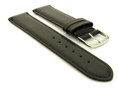 Genuine Leather Watch Strap Genk Black / Black 19mm