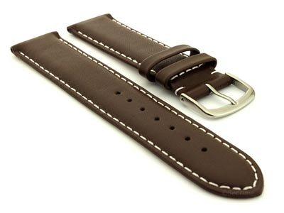 Genuine Leather Watch Strap Genk DarkBrown / White 19mm