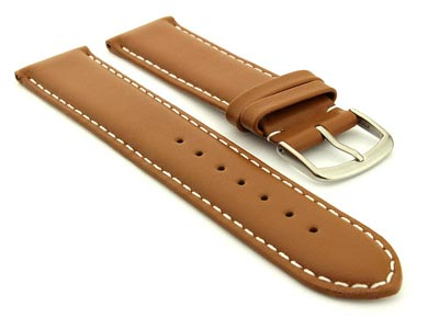 Genuine Leather Watch Strap Genk Brown / White 17mm