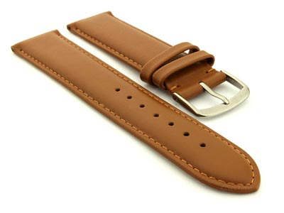 Genuine Leather Watch Strap Genk Brown / Brown 17mm