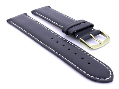 Genuine Leather Watch Strap Genk Navy Blue / White 17mm