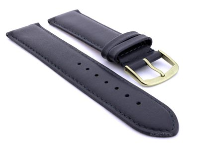 Genuine Leather Watch Strap Genk Navy Blue / Blue 17mm