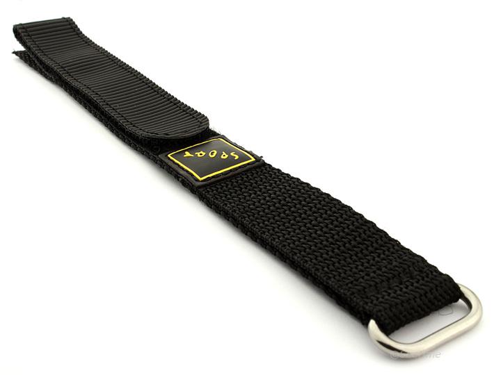 Hook & Loop Watch Strap Nylon Black Sport 01