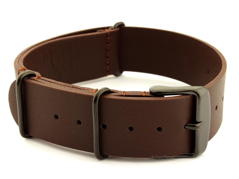 Leather Nato Strap PVD Dark Brown 02