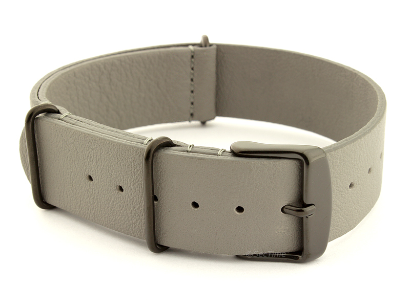 Leather Nato Strap PVD Grey 02