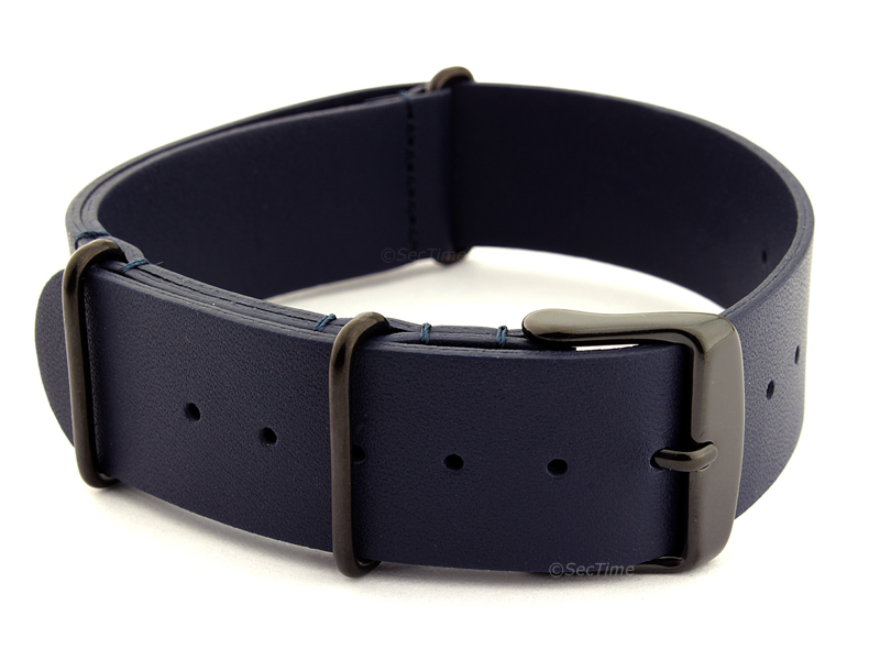 Leather Nato Strap PVD Navy Blue 02