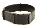 Genuine Leather Nato Watch Strap PVD Hardware Black 20mm