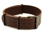 Genuine Leather Nato Watch Strap PVD Hardware Dark Brown 20mm