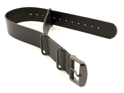 Leather Nato Strap PVD Black 01