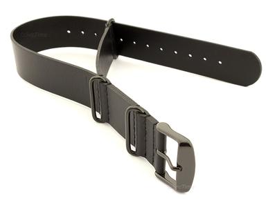 Genuine Leather Nato Watch Strap PVD Hardware Black 20mm