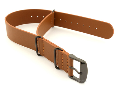 Genuine Leather Nato Watch Strap PVD Hardware Brown 20mm
