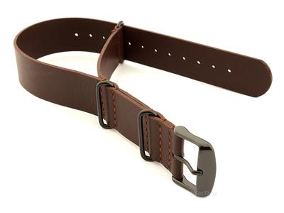 Genuine Leather Nato Watch Strap PVD Hardware Dark Brown 20mm