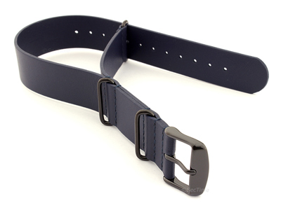 Genuine Leather Nato Watch Strap PVD Hardware Navy Blue 20mm