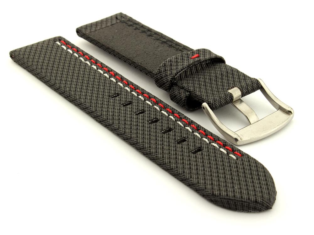 Waterproof Synthetic Watch Strap Hydrophobized Cowhide Lining Lyon Black 02
