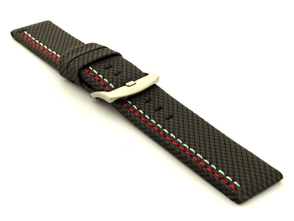 Waterproof Synthetic Watch Strap Hydrophobized Cowhide Lining Lyon Black 03
