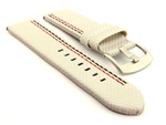 Waterproof Synthetic Watch Strap LYON, Cowhide Lining White 26mm