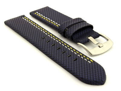 Waterproof Synthetic Watch Strap LYON, Cowhide Lining Blue 26mm