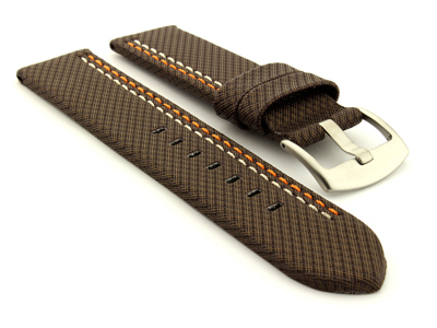 Waterproof Synthetic Watch Strap LYON, Cowhide Lining Dark Brown 26mm